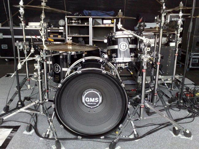 NAMM 2012 GMS drums woofer loudspeaker bass drum front head