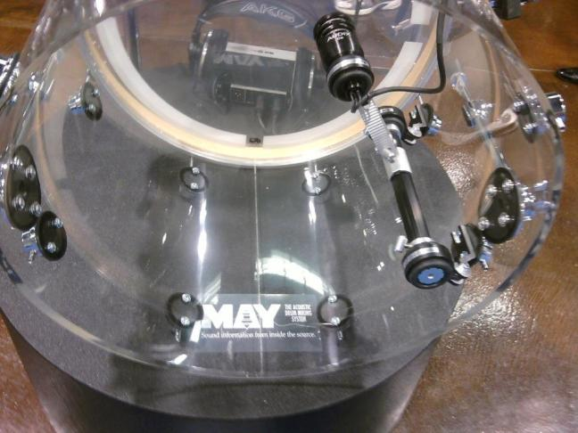 NAMM 2012 MAY acoustic drum miking microphone inside shell system