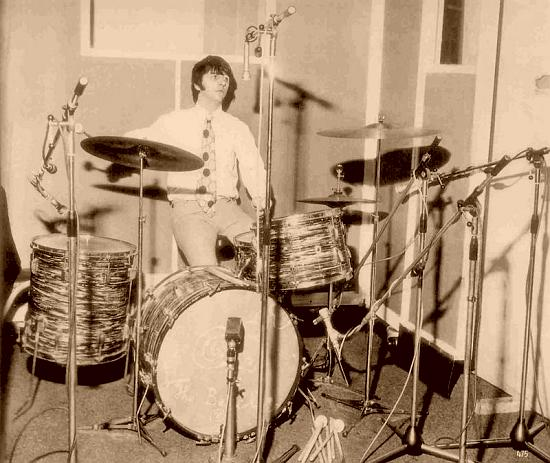 Ringo Starr in his Ludwig drum kit with Beatles at Abbey Road studios 1967